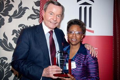 Dean Eddington Awards Harold Chappelear the Key to Pharmacy Hall