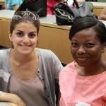 Tania Tajzad and Akua Preko attend New Student Orientation.