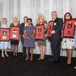 Dean Natalie Eddington and President Jay Perman Pictured with Founding Pharmapreneur Award Winners